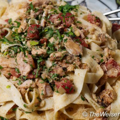 Pasta with Tuna, Capers, Pine Nuts, and Currants