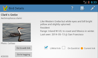 Screenshot of US Birding Checklist