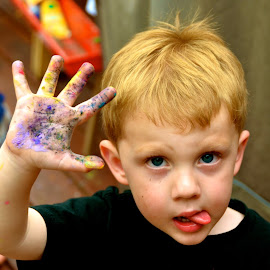Finger Painting by Tyrell Heaton - Babies & Children Hands & Feet ( chalk, tongue, art, play, paint, toddler,  )