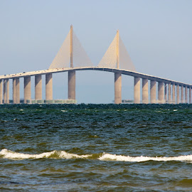 Sunshine Skyway bridge in Florida by Diane Mondalto - Buildings & Architecture Bridges & Suspended Structures ( florida, sunshine, skyway, bridge )