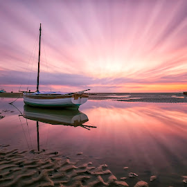 Blinded by the Light by Raymond Mcbride - Landscapes Sunsets & Sunrises ( north west england, sunset, slow exposure, boats, seascape )