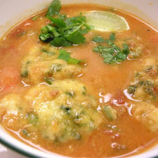 Cilantro Lime Corn Meal Dumplings in Chorizo Chicken Soup