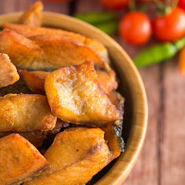 Snakehead fish fried. by Jaturapat Pattanacheewin - Food & Drink Meats & Cheeses ( fish, snakehead fish fried, fish fried, snakehead )
