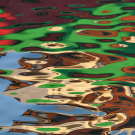 Reflections on Water by Lennon Fletcher - Digital Art Abstract ( water, color, colors, boat reflection, reflections on water, reflections, colorfull, harbor scene )