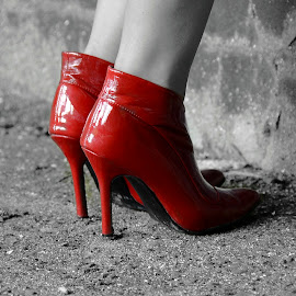 Red Boots by Wendy Faber - Novices Only Objects & Still Life ( red, boots shoes b&w )