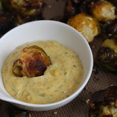 Crispy Sesame Brussels Sprouts with Creamy Curry Dipping Sauce