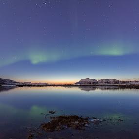 Blue by Benny Høynes - Landscapes Prairies, Meadows & Fields ( water, bay, blue, sunset, aurora )