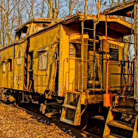 Retired Yellow Caboose by Stephanie Turner - Transportation Trains ( old, rusted;, trains; caboose; railroad, train and barns,  )