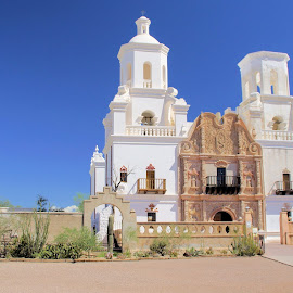 San Xavier  Mission by Jo Gonzalez - Buildings & Architecture Places of Worship ( catholic, white building, architecture, religious )