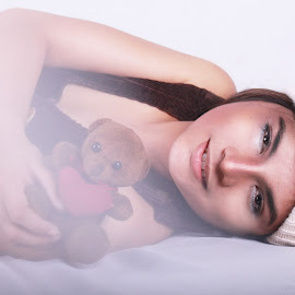 little things by Fsm Fashionstudiomanila - Digital Art People ( teddy bear, bonnet )