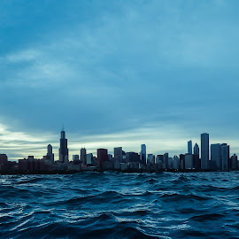Chicago from water level by Mike Boening - City,  Street & Park  Skylines ( memories by mike, workshop, mike boening, monopod, olympus tg3, waves, saturday, perspective, chicago, discover your world, rain, Urban, City, Lifestyle )