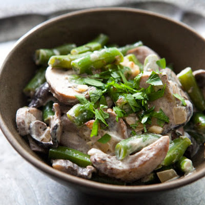 Creamy Green Beans and Mushrooms