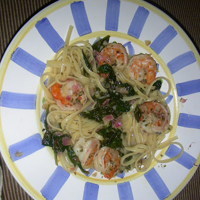Lemon Shrimp with Spinach over Linguine