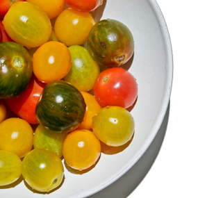 Heirloom Tomatoes  by Rita Colantonio - Food & Drink Fruits & Vegetables ( reds, white bowl, tomatoes, assymetrical )