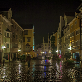 Rainy night by Jesus Giraldo - City,  Street & Park  Historic Districts ( urban, colors, street, buildings, reflections, night, beauty, lindau, walk, city )