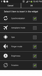 Settings Widget Toggle - screenshot