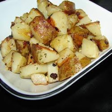 Pan-fried Potato Wedges with Olives and Feta