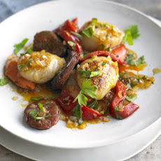 Pan-fried Scallops & Chorizo With Parsley Salad