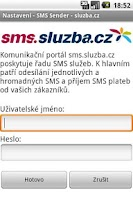 Screenshot of SMS Sender - sluzba.cz
