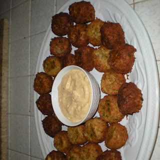 Potato Parsley Cheese Puffs with Chipotle Mayo