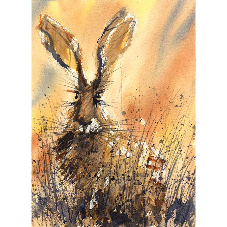 Rabbit hare picture art print British wildlife painting