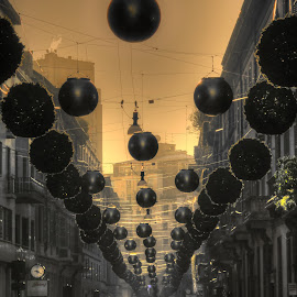 before the Christmas by Luna Sol - City,  Street & Park  Street Scenes ( holiday, street decorations, christmas, lunasol, people, milano, italy )