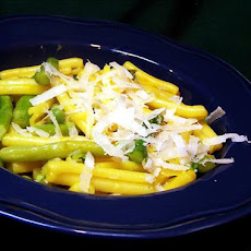 Pappardelle With Peas and Asparagus in Orange-saffron Sauce