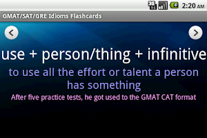Screenshot of GMAT/SAT/GRE Idioms (with Ads)
