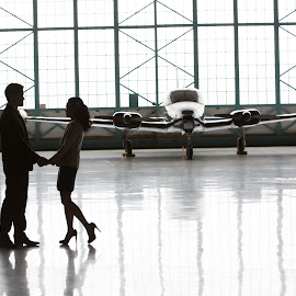Airplane Hanger Engagement by Brooke Green - People Couples ( couple portrait, airplane, couple, portrait, engagement )