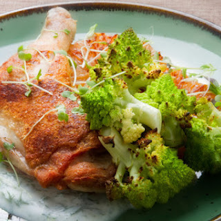 Chicken Legs with Green Ball Cauliflower, Seared Grapefruit & Yogurt Sauce