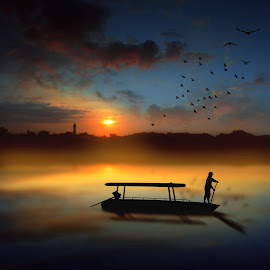 mulih by Indra Prihantoro - Digital Art Places ( sunset, watercraft, boats, sunrise,  )