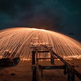 Mushroom Sparks by Adrian Choo - Abstract Light Painting ( lights, mushroom, steel wool, bridge, sparks )