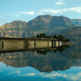 reflection of wall of a dam by Hariprasad Bobhate - Landscapes Waterscapes ( clouds, water, hills, reflection, waterscape, mirror image, landscape, bhandardara, backwater, mountains, sky, nature, blue, fresh, dam, scenery, view, scenic beauty, wall,  )