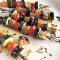 Marinated Summer Vegetables Grilled on Rosemary Skewers