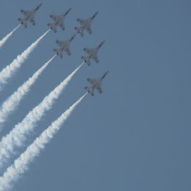 Thunderbirds Delta Formation by Michael Hudgens - Novices Only Sports ( air force, airplane, delta, loop, show, air, military, airshow, formation, thunderbirds,  )