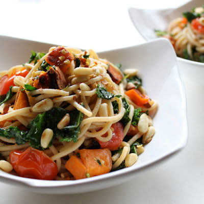 Spaghetti with Sweet Potatoes, Tomatoes, and Garlicky Kale