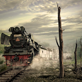 crossing the valey.. by Budi Cc-line - Digital Art Places ( train, transportation, valey )