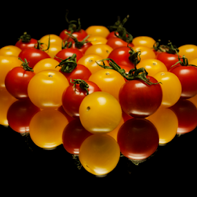 Tomatoes  by Roman Kolodziej - Food & Drink Fruits & Vegetables ( orange, red, pattern, tomato, colorful, fresh, zoom, vegetables, healthy, yellow, Food & Beverage, meal, Eat & Drink )