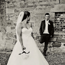 Hey There! by Alan Evans - Wedding Bride & Groom ( wedding photography, black and white, aj photography, wedding flowers, loving, marriage, tocal homestead hunter valley, love, wedding, wedding day, couple, hunter valley, bride and groom, bride, groom, hunter valley wedding photographer, couple in love,  )