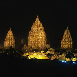 shiny prambanan by Tt Sherman - Buildings & Architecture Public & Historical ( temple, light, night shot, prambanan, shiny )