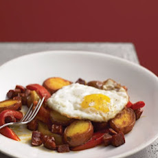 Chorizo and Potatoes with Roasted Peppers and Egg