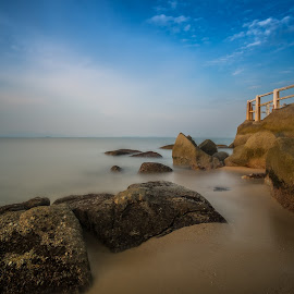 Sunset @ Batu Ferringhi by CK NG - Landscapes Beaches ( sunset, malaysia, tanjung bunga, rock, batu ferringhi, beach )