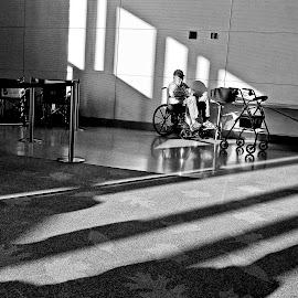 Always Waiting by Ron Plasencia - People Street & Candids ( wheelchair, mcghee-tyson, sad, poignant, light, shadows, man, tys )