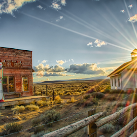 by Trisha Lookabill - Buildings & Architecture Decaying & Abandoned ( schoolhouse, desert, fort rock, general store, eastern oregon )