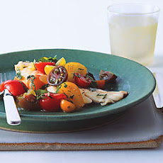 Fish with Curried Cucumber Tomato Water and Tomato Herb Salad