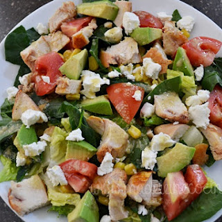 Spinach Salad with Chicken, Avocado, and Corn