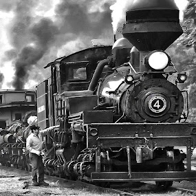 One Day in Time by Chuck  Gordon  - Black & White Objects & Still Life ( railroad, bw, train, man, steam )