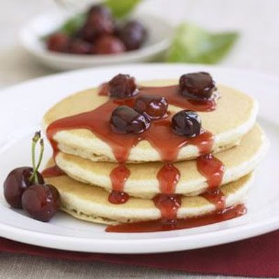 Buttermilk Pancakes with Bing Cherry Syrup