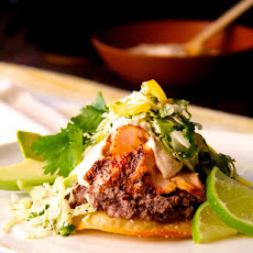 Salmon and Black Bean Tostadas with Cilantro - Lime Slaw and Chipotle Crema