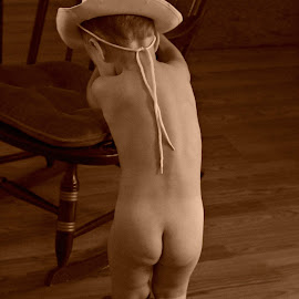 Cowboys Prayer by Kurt Mager - Babies & Children Toddlers ( sepia, cowboy, cute, toddler, boots )